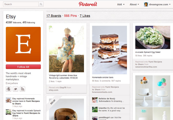 Pinterest Etsy Brand Pages